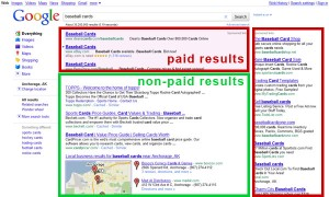 Paid vs non-paid search results